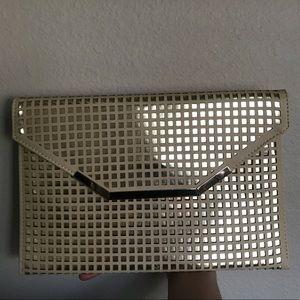 Beige/Gold Laser Cutout Envelope Clutch